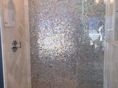 Shower Iridescent Glass Tiles Marble Yelp