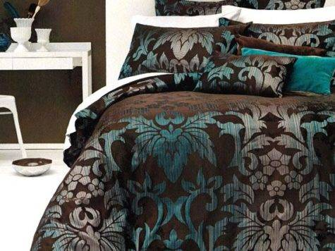 Sicilly Chocolate Brown Teal Aqua Jacquard King Quilt