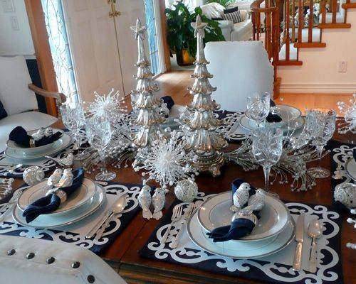 Silver Christmas Table Setting Home Design Ideas