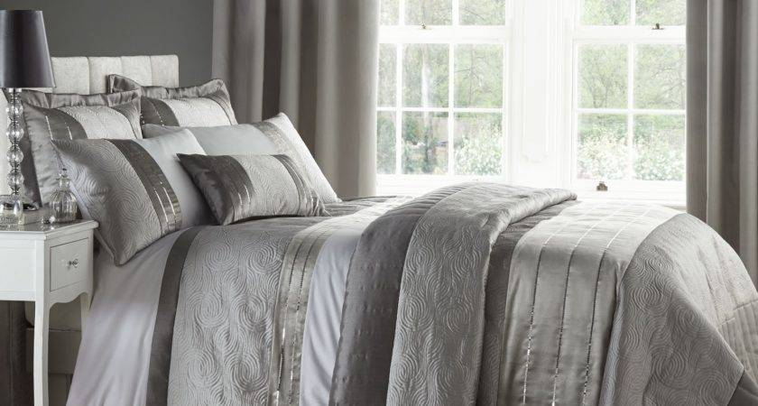 Silver Grey Luxury Duvet Quilt Cover Bedding Bed Set