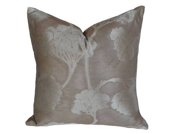 Silver Taupe Pillow Covers Metallic Tree Mens Luxury