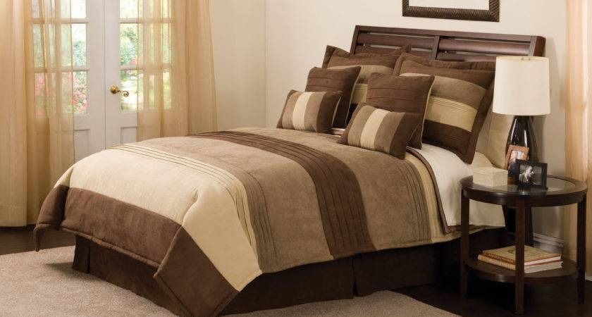 Simple Bedroom Pieces King Tan Brown Striped