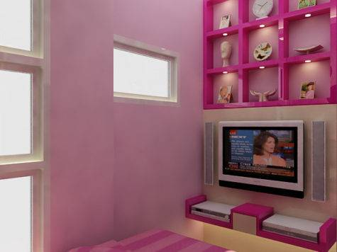 Small Bedroom Minimalist Color Combination Pink