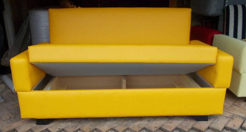 Small Bright Yellow Sofa Bed Seater