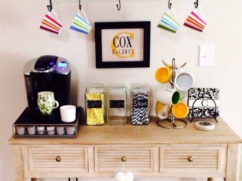 Small Coffee Station Table Drawer Storage Plus