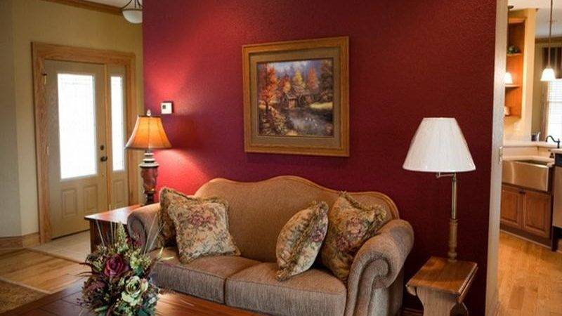 Small Living Room Red Wall Painting Ideas