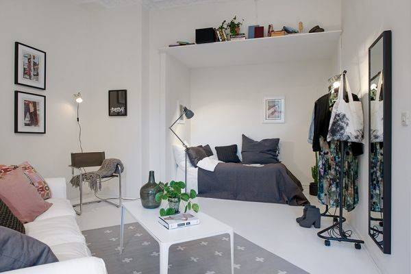 Small One Room Apartments Featuring Scandinavian Cor