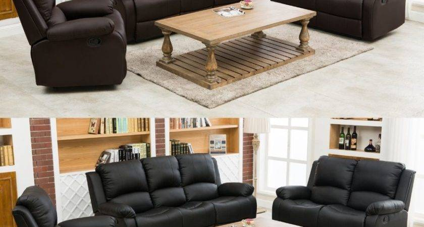 Sofa Suite Arm Chair Recliners Real Leather Black Brown