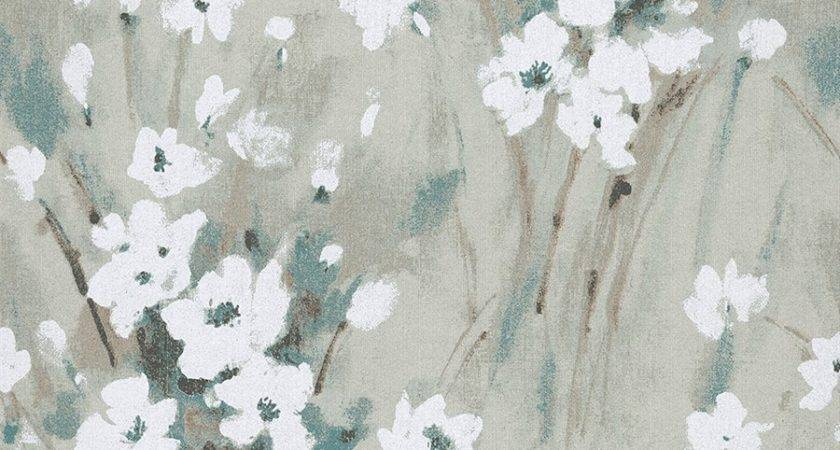Soft Painted Turquoise Blue Bouquet Walls