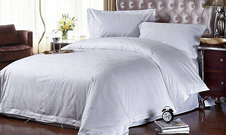 Solid White Hotel Jacquard Bed Sheet Set Good Quality