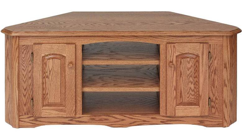 Solid Wood Oak Country Corner Stand Cabinet