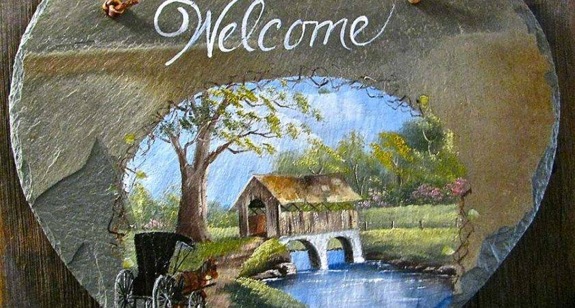Spring Covered Bridge Welcome Slate Joyces