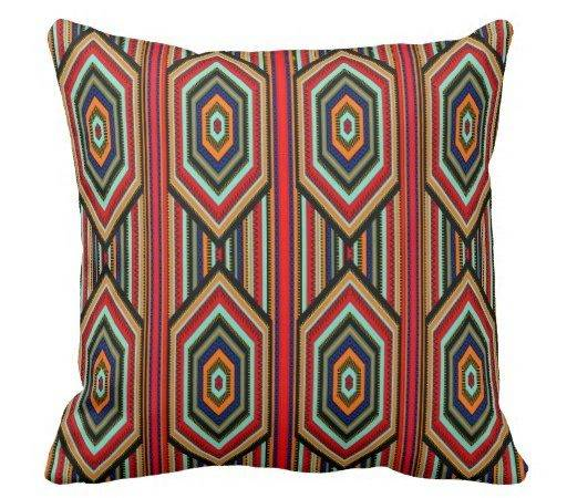Square Pillow Mexican Red Teal Blue Orange Black Zazzle