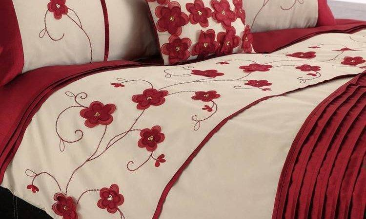 Stacey Red Floral Embroidered Duvet Cover Bedding