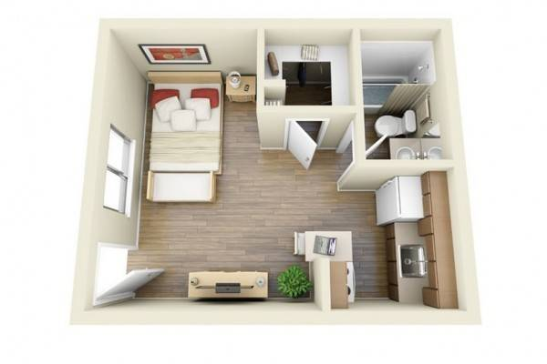 Studio Type Single Room House Lay Out Interior Design