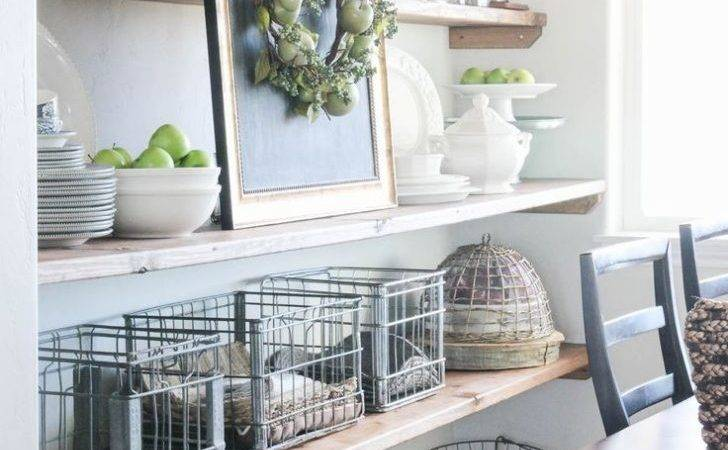 Styled Dining Room Shelving Wood Grain Cottage Shelves