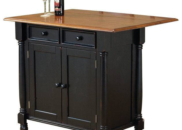 Sunset Trading Antique Black Kitchen Island Leaf