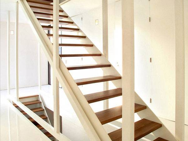 Suspended Stair Design Dark Wood White