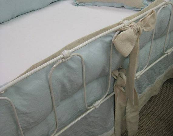 Tailored Crib Bedding Pastel Blue Washed Linen Natural