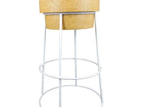 Tall Champagne Cork Bar Breakfast Stools White Frame