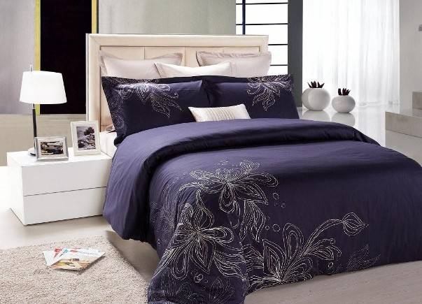 Tan Navy Blue Floral Embroidered Combed Cotton
