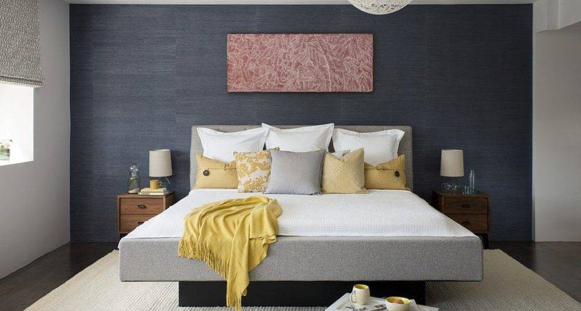 Taupe Bedding Yellow Accent Bedroom Contemporary