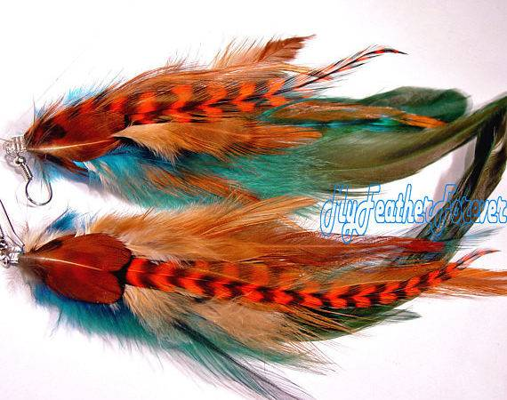 Teal Blue Brown Orange Grizzly Long Feather Earrings