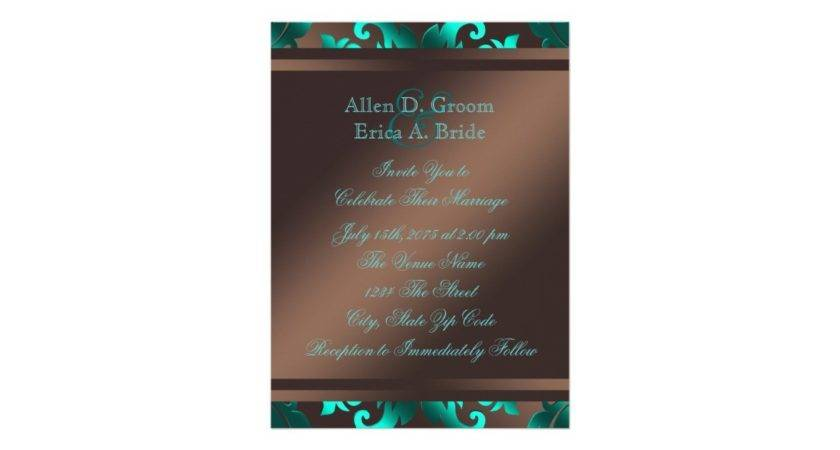 Teal Blue Chocolate Brown Wedding Card Zazzle