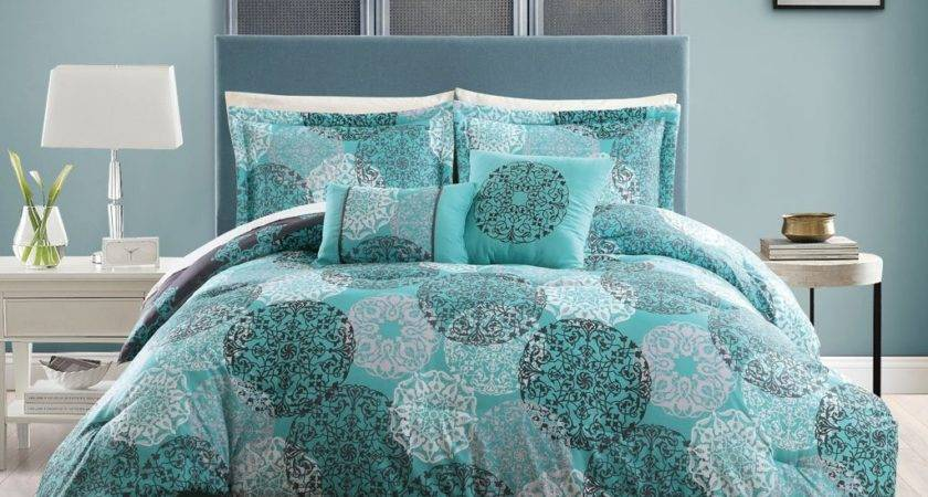 Teal Blue Gray White Queen Comforter Circle Medallion