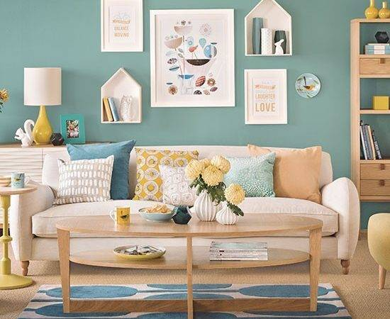 Teal Blue Oak Living Room Decorating Housetohome