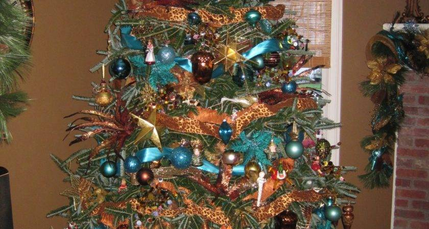 Teal Gold Christmas Tree Fine Desing