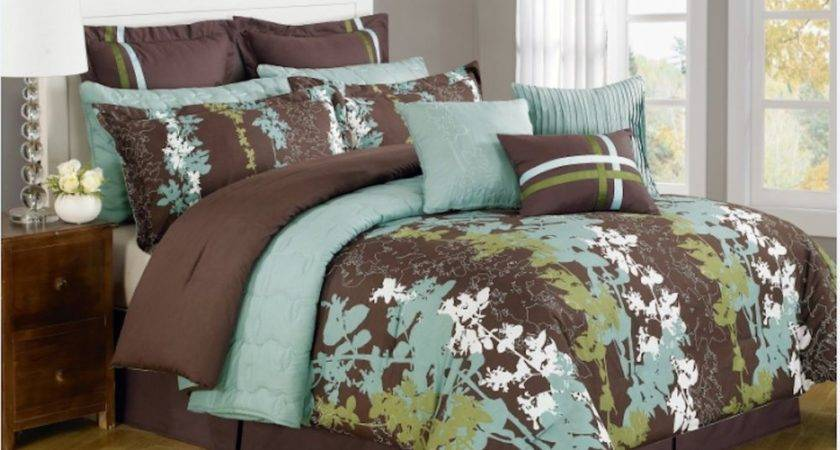 Teal Green Brown White Floral Print Comforter
