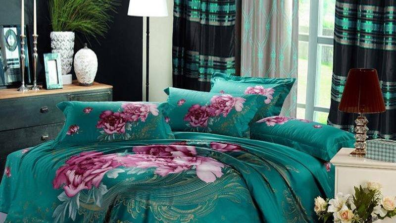 Teal Green Purple Pink Peony Floral Print Queen