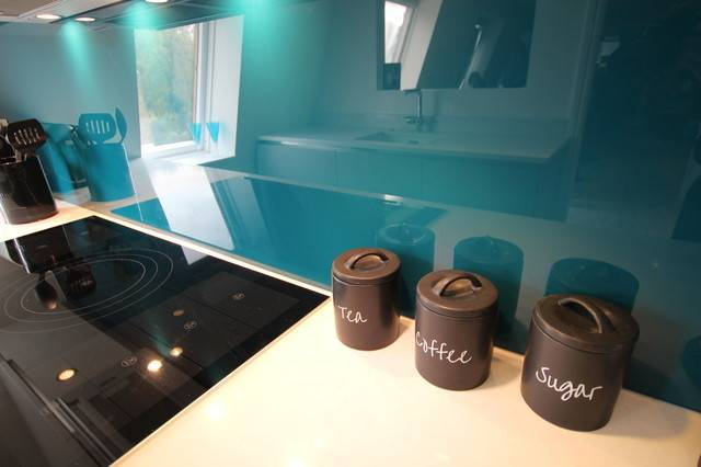 Teal Kitchen Splashback Contemporary London Lwk