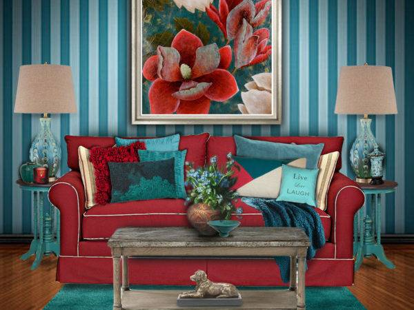 Inspiring Teal And Red Room 16 Photo