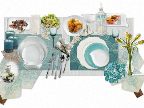 Teal Table Setting Wheely Mummy