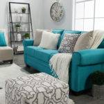 Teal White Living Room Modern House