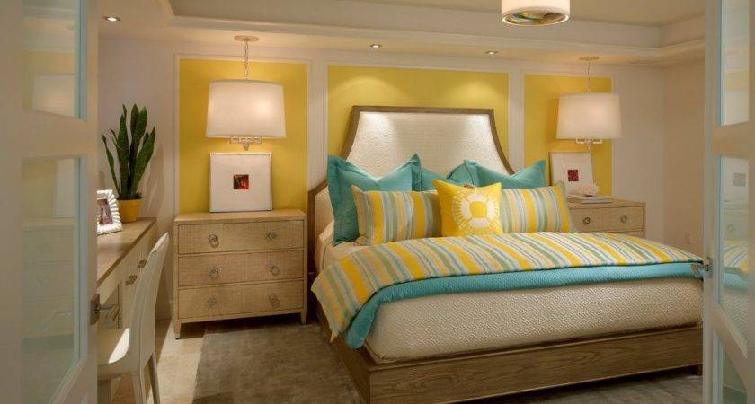 Teal Yellow Bedroom Transitional Upholstered