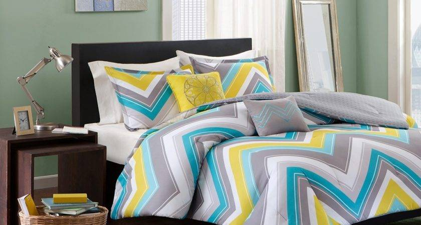 Teal Yellow Grey Bedding Decorate House
