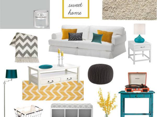 Teal Yellow Grey Living Room Polyvore