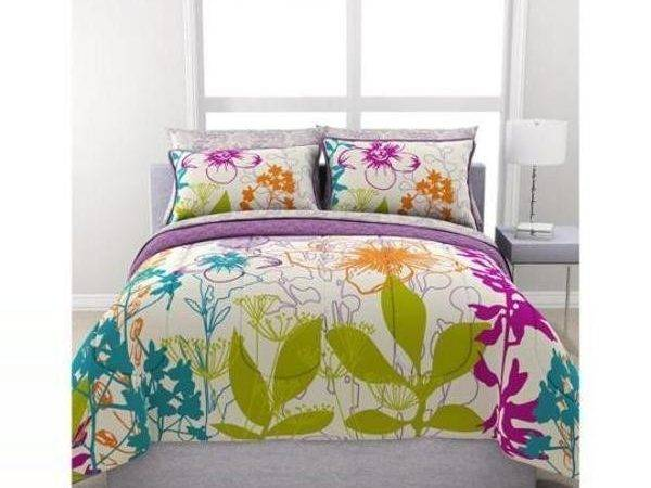 Teen Girl Bedroom Colorful Floral Piece Polyester Queen