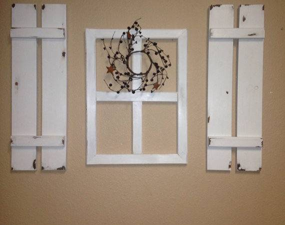 Three Peice Set Faux Window Wood Shutter Wall Decor