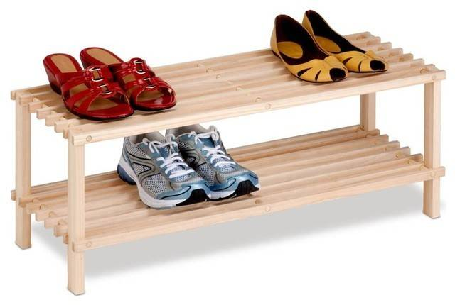 Tier Unfinished Natural Wood Shoe Rack Contemporary