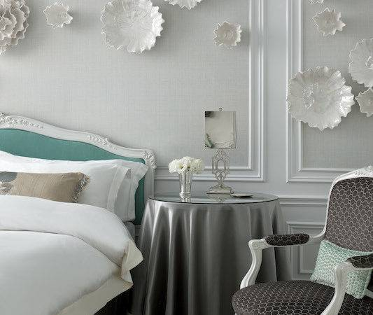 Tiffany Blue Headboard Transitional Bedroom