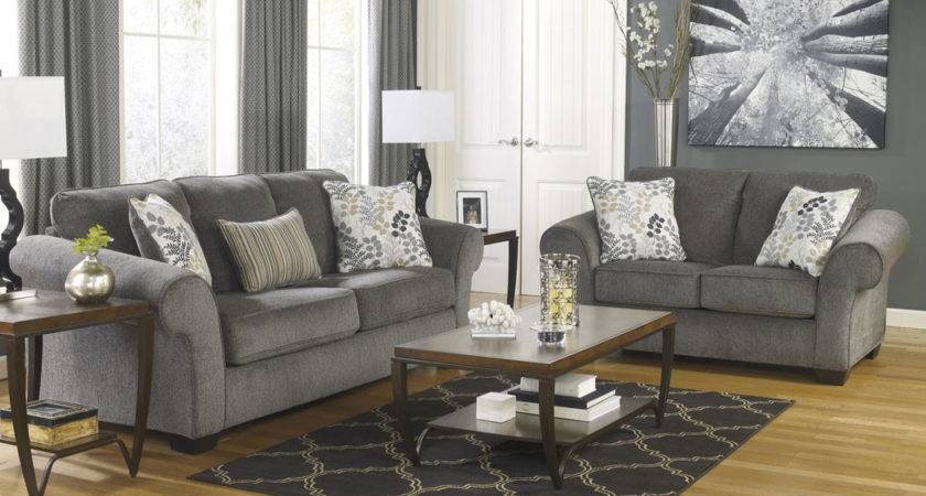Todd Affordable Furniture Makonnen Charcoal Sofa Loveseat