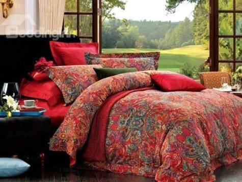 Top Class Cotton Red Paisley Piece Bedding Sets
