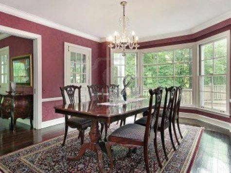 Traditional Dining Room Red Walls Windows Inspiration