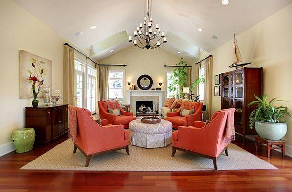 Traditional Living Room Coral Colored Comfy Chairs