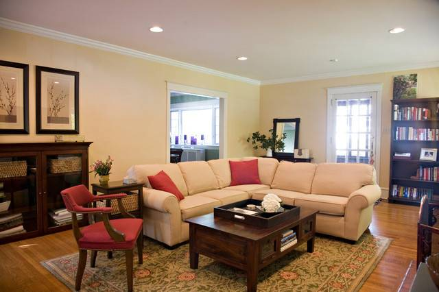 Traditional Living Room Cream Sectional Red Accents
