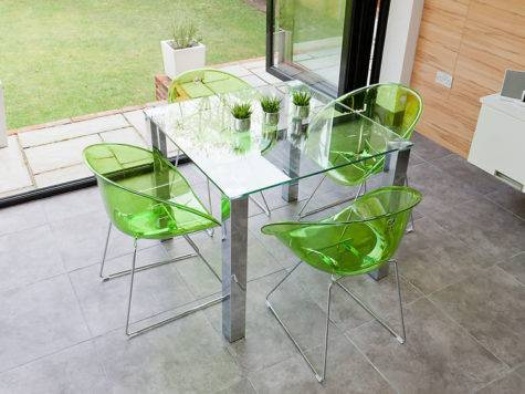 Trendy Square Dining Set Chrome Clear Glass Funky